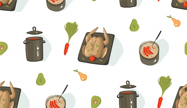 Modello senza cuciture delle icone moderne delle illustrazioni di divertimento di tempo di cottura del fumetto moderno disegnato a mano con l'attrezzatura, le verdure, l'alimento ed il pollo di cottura su fondo bianco