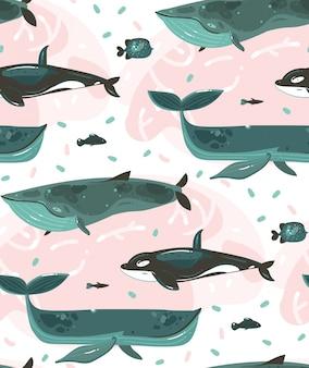 Modello senza cuciture delle illustrazioni subacquee disegnate a mano di ora legale del fumetto con le barriere coralline e i caratteri di grandi balene di bellezza su fondo bianco