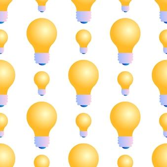 Modello senza cuciture delle lampadine su fondo bianco