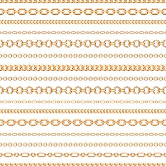 Modello senza cuciture delle linee di catena dell'oro su fondo bianco
