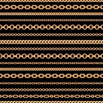 Modello senza cuciture delle linee di catena dell'oro su fondo nero