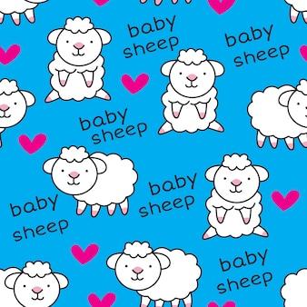 Modello senza cuciture delle pecore del bambino sveglio