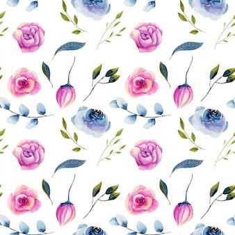 Modello senza cuciture delle rose blu dell'acquerello e peonie rosa