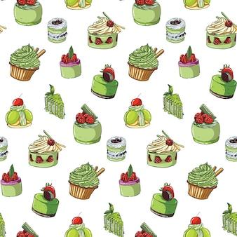 Modello senza cuciture delle torte del tè verde disegnato a mano