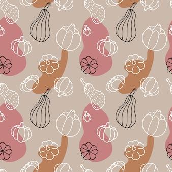 Modello senza cuciture delle zucche di autunno, schizzo disegnato a mano isolato