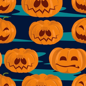 Modello senza cuciture delle zucche di halloween dell'acquerello