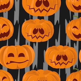 Modello senza cuciture delle zucche di sorriso di halloween dell'acquerello