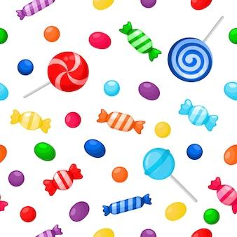 Modello senza cuciture dessert dolci dolci caramelle kawaii