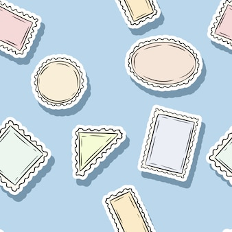 Modello senza cuciture di adesivi timbro di posta. sfondo colorato etichetta