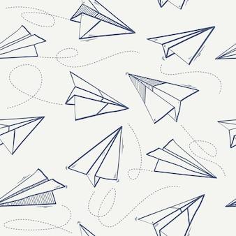 Modello senza cuciture di aeroplano di carta origami