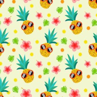 Modello senza cuciture di ananas carino estate.