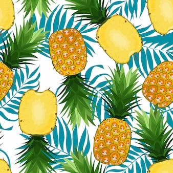 Modello senza cuciture di ananas intero e in fette con foglie di palma. frutti di ananas