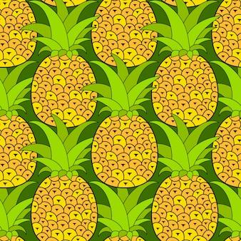 Modello senza cuciture di ananas tropicale