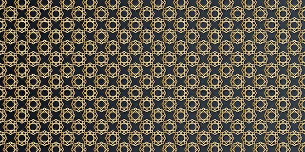 Modello senza cuciture di arabesque geometrico oro di lusso su sfondo scuro