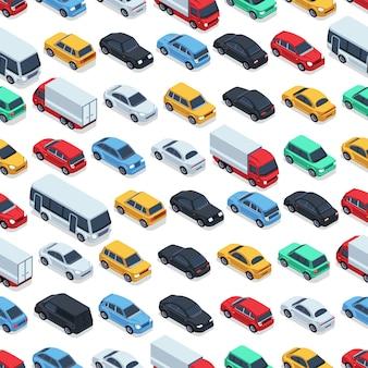 Modello senza cuciture di auto urbane. auto isometriche. illustrazione di auto senza cuciture colore modello
