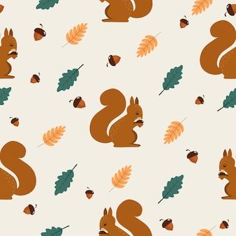 Modello senza cuciture di autunno con scoiattolo carino.