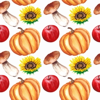 Modello senza cuciture di autunno dell'acquerello con mele, girasoli, funghi, zucca isolato.