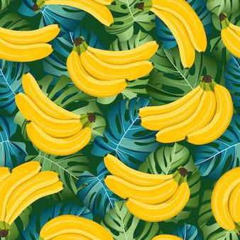 Modello senza cuciture di banana con foglie tropicali. frutto tropicale e botanico