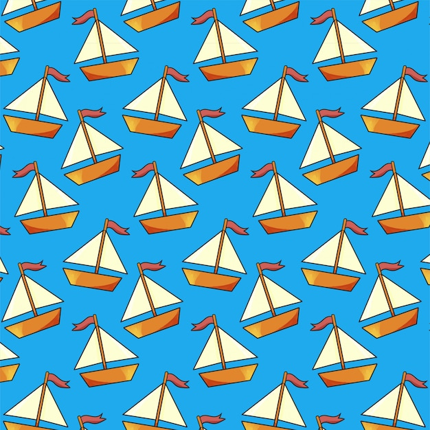 Modello senza cuciture di barca a vela su sfondo blu