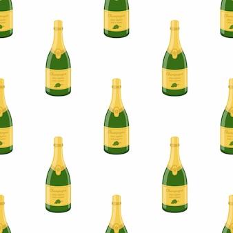 Modello senza cuciture di bottiglia di champagne