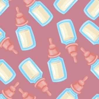 Modello senza cuciture di bottiglia di latte del bambino su un rosa per carta da parati, avvolgimento, imballaggio e sfondo per bambini.