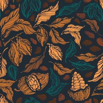Modello senza cuciture di cacao sfondo di arte disegnata a mano