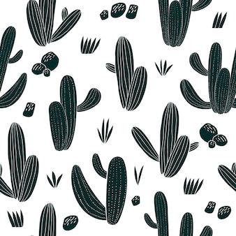 Modello senza cuciture di cactus disegnato a mano. piante botaniche africane