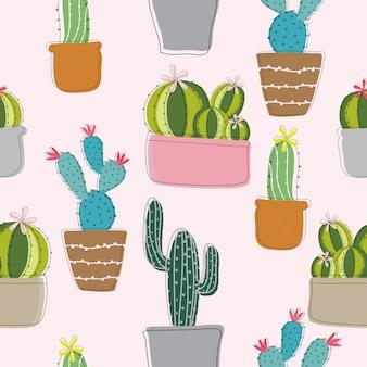 Modello senza cuciture di cactus disegnato a mano sveglio