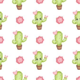 Modello senza cuciture di cactus simpatico cartone animato. cactus di cartone animato con occhi, fiori rosa e cuori su uno sfondo bianco