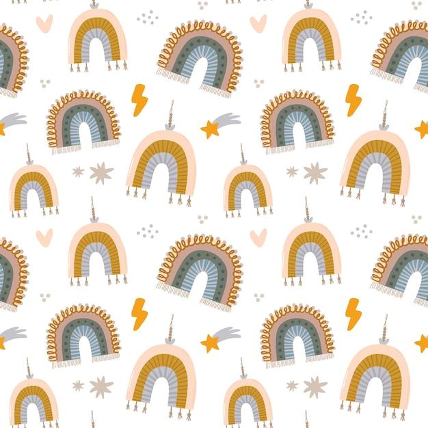Modello senza cuciture di caratteri scandinavi di bambini svegli con citazioni alla moda e elementi disegnati a mano animali fantastici illustrazione di doodle del fumetto per baby shower, arredamento della stanza della scuola materna, design per bambini. .
