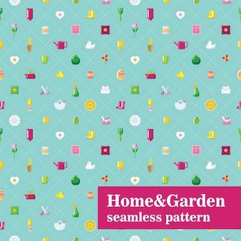 Modello senza cuciture di casa e giardino. piastrelle diagonali con oggetti domestici.