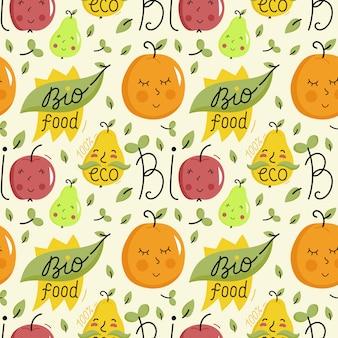 Modello senza cuciture di cibo bio con personaggi di frutta