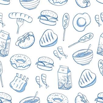 Modello senza cuciture di cibo delizioso con doodle o stile disegnato a mano