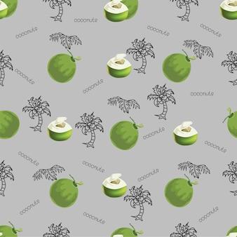 Modello senza cuciture di cocco tropicale, illustrazione vettoriale. stampa cocco