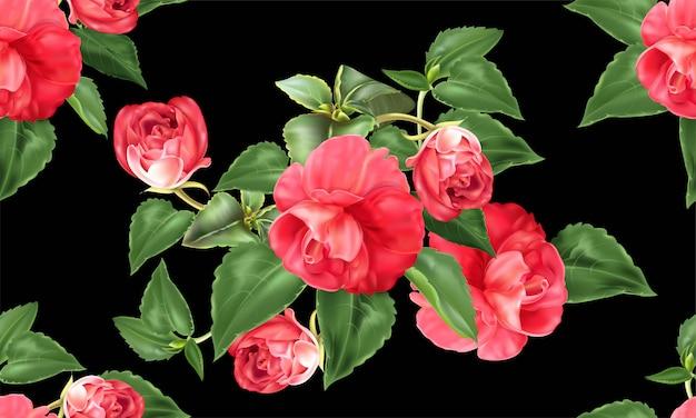 Modello senza cuciture di colore rosso della rosa