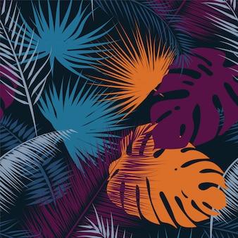 Modello senza cuciture di colori alla moda foglie tropicali.
