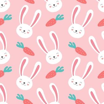 Modello senza cuciture di coniglio rosa sveglio, carote.