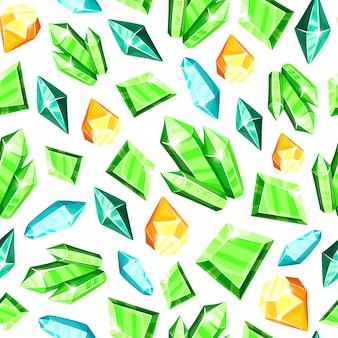 Modello senza cuciture di cristallo - cristalli colorati blu, dorati, rosa, viola, arcobaleno o gemme su sfondo bianco,