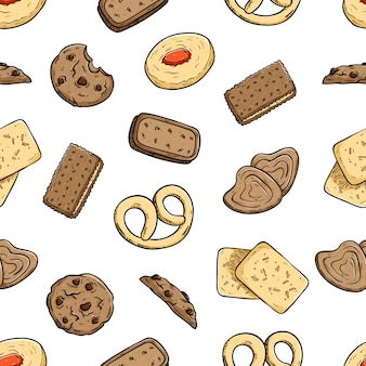 Modello senza cuciture di deliziosi biscotti o biscotti con stile doodle colorato