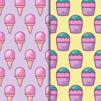 Modello senza cuciture di deliziosi gelati