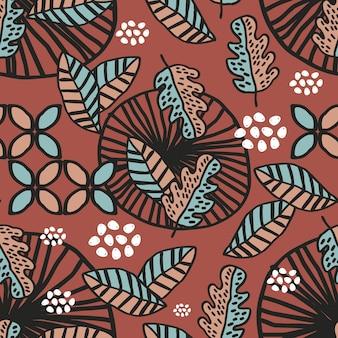 Modello senza cuciture di disegno di motivi tribali foglie autunnali