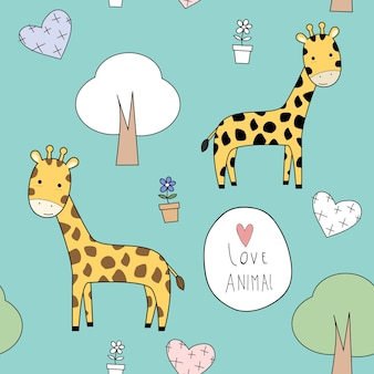 Modello senza cuciture di doodle del fumetto animale sveglio della giraffa