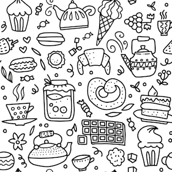 Modello senza cuciture di doodle del tè e dei dolci. delineare l'illustrazione disegnata a mano su caffè o tea time caffè, tè, cupcake, tazze, caramelle, lecca-lecca