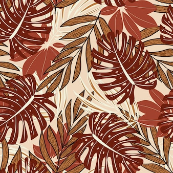Modello senza cuciture di estate con belle piante tropicali e foglie