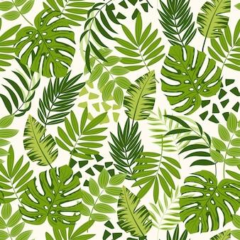 Modello senza cuciture di estate con piante e foglie tropicali colorati