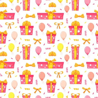 Modello senza cuciture di festa di buon compleanno con scatole regalo rosa e giallo, mongolfiere, coriandoli, fiocchi