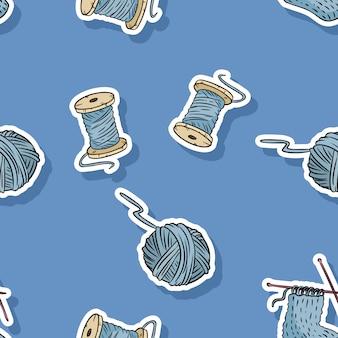 Modello senza cuciture di fili e fili di cotone in legno. disegno del modello di cute cartoon a mano
