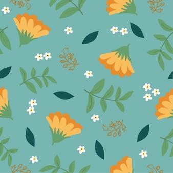 Modello senza cuciture di fiori e foglie di calendula
