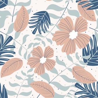 Modello senza cuciture di fiori e foglie tropicali