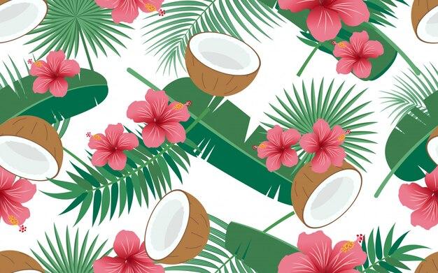 Modello senza cuciture di floreale tropicale e foglie con la noce di cocco